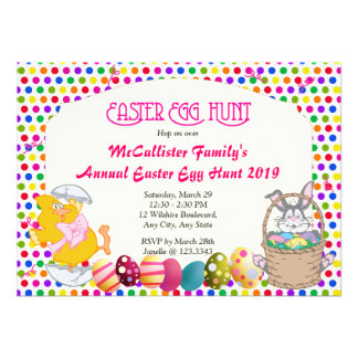 Easter Egg Hunt Bunny Chick Invitations
