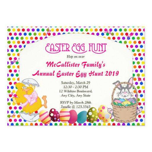 Easter Egg Hunt Bunny & Chick Invitations
