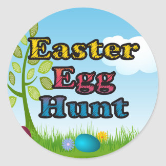 Easter Egg Hunt Colorful Tree Sky Round Sticker