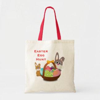 Easter Egg Hunt Cute Bunny Rabbits Basket and Eggs Budget Tote Bag