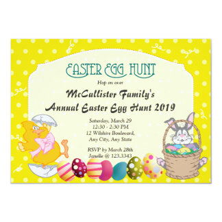 Easter Egg Hunt Polka Dot Fun 4.5x6.25 Paper Invitation Card
