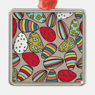 Easter Egg hunt Silver-Colored Square Decoration