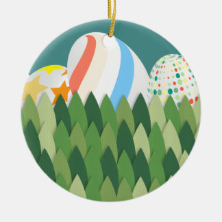 Easter Egg Hunt with Grass Background Christmas Ornament