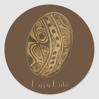 Easter Egg Mayan Design Round Sticker