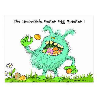 easter egg monster postcard