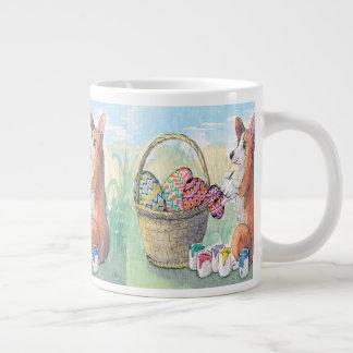 Easter egg mug, Corgi dog painting Easter eggs Large Coffee Mug