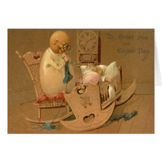 Easter Egg People Baby Clock Rocking Chair Greeting Card