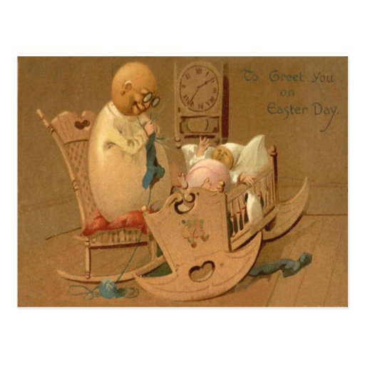 Easter Egg People Baby Clock Rocking Chair Post Card