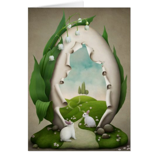 Easter Egg Rabbits Note Card