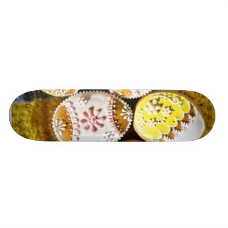 Easter Egg Shaped Biscuits On The Plate On Yellow Skate Board Decks