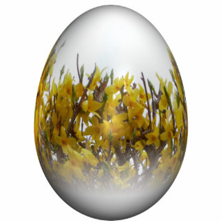 Easter egg with forsythia photo sculpture decoration