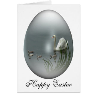 easter egg with swan and cygnets greeting cards