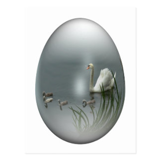 easter egg with swan and cygnets postcard