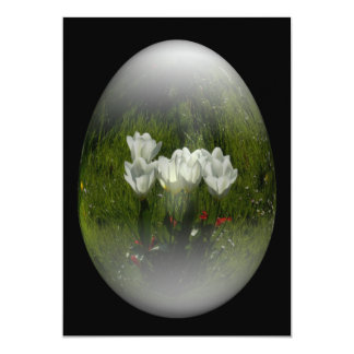easter egg with white tulips invitation