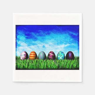 Easter Eggs All In A Row Paper Serviettes