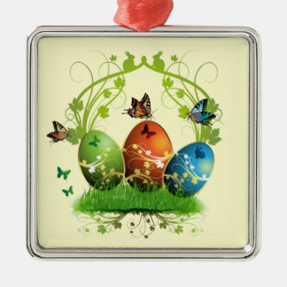 Easter Eggs and Butterflies Silver-Colored Square Decoration