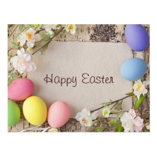 Easter Eggs and Note on Wooden Background Postcard