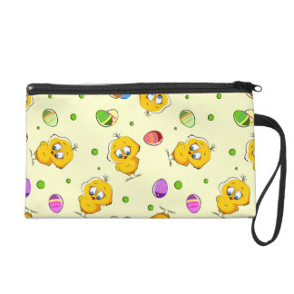 Easter Eggs & Baby Chicks Wristlet Clutch