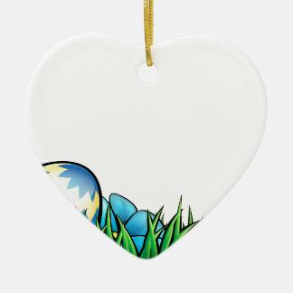Easter Eggs Background Ceramic Heart Decoration