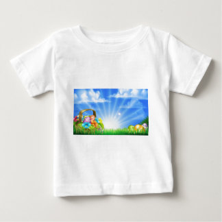Easter Eggs Basket Background Baby T-Shirt