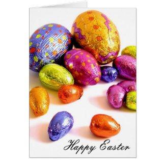 easter eggs bright greeting card