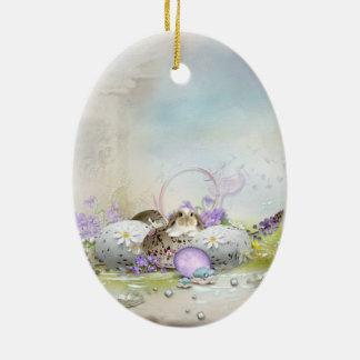 Easter Eggs Ceramic Oval Ornament
