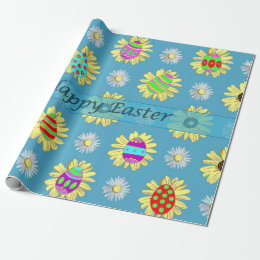 Easter wrap wrapping paper zazzle easter eggs daisies on blue wrapping paper negle Image collections