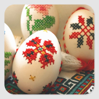 Easter Eggs Embroidered Square Sticker