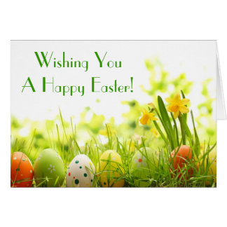 Easter Eggs Hiding in Grass with Daffodils Card