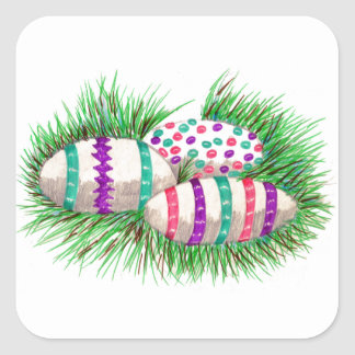 Easter Eggs in Grass Square Sticker