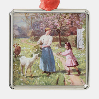 Easter Eggs in the Country, 1908 Silver-Colored Square Decoration