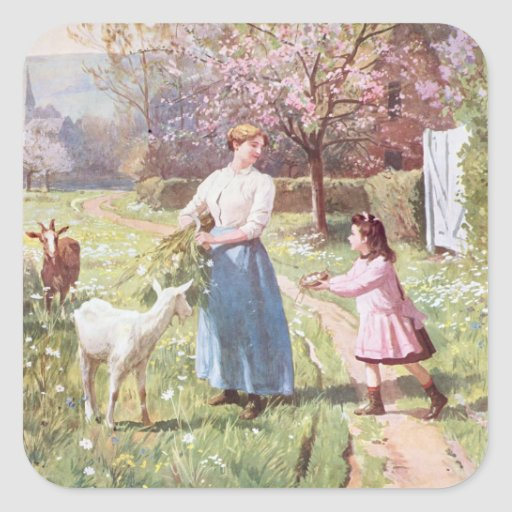 Easter Eggs in the Country, 1908 Square Sticker