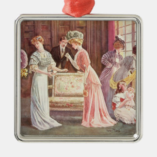 Easter Eggs in Town, 1908 Silver-Colored Square Decoration