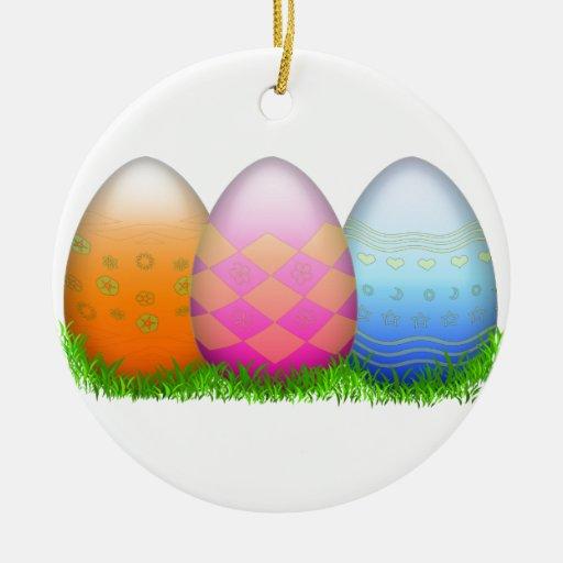Easter Eggs on Grass Christmas Tree Ornament