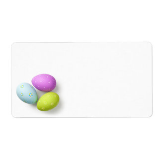 Easter Eggs on White Shipping Label