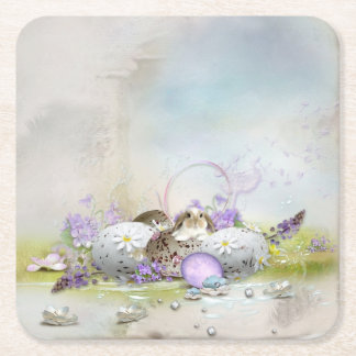 Easter Eggs Paper Coaster Square Paper Coaster