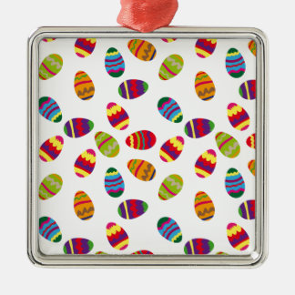 Easter eggs pattern Silver-Colored square decoration