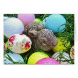 Easter Eggs, Rabbit , pastel colored Golf Balls Greeting Card