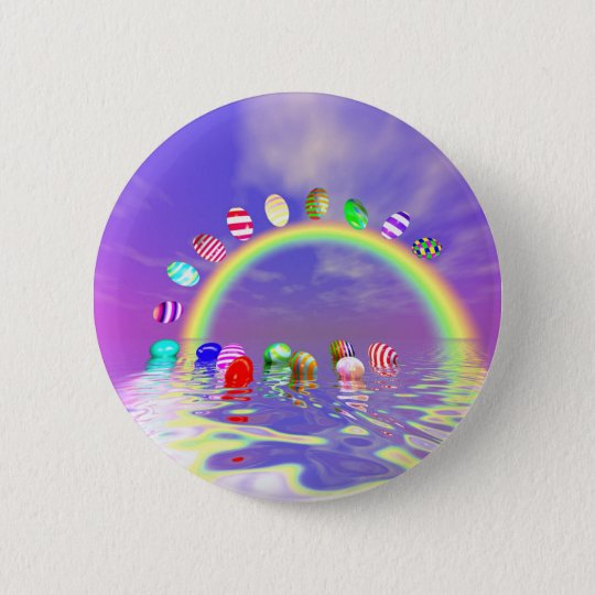 Easter Eggs Ride on a Rainbow 6 Cm Round Badge
