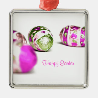 Easter Eggs Silver-Colored Square Decoration