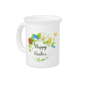 Easter Eggs Spring Flowers and Butterflies Wreath Pitcher