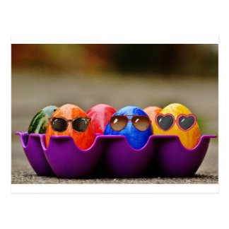 Easter Eggs Wearing Sunglasses, shades, colored Postcard