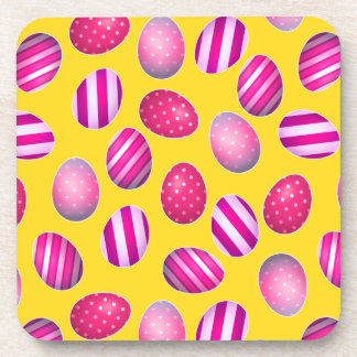 Easter Eggs Yellow and Pink Pattern Drink Coasters