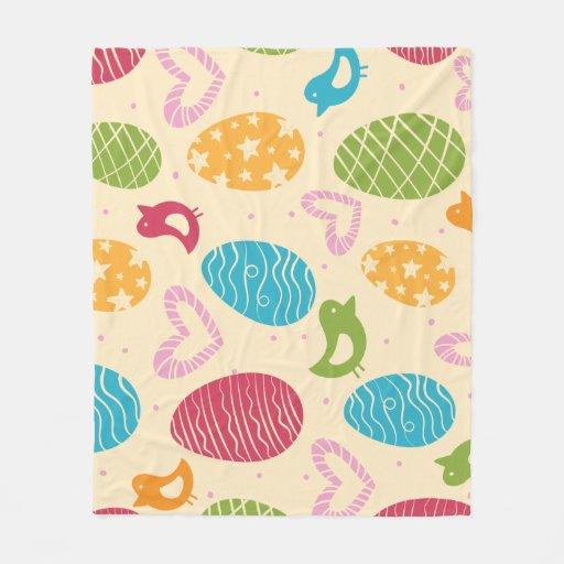 Easter fleece blanket with colourful Easter eggs