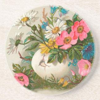 Easter Flowers Vintage Floral Art Coaster