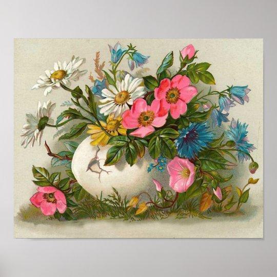 Easter Flowers Vintage Floral Art Poster