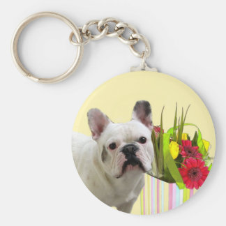 Easter French Bulldog keychain