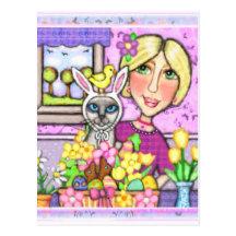 Easter Gift Basket Cat & Lady Postcard