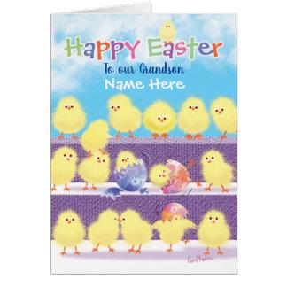 Easter, Grandson, Cute Playful Chicks Card