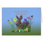 Easter, Grandson,  Flowers, Eggs, and Rabbi Card